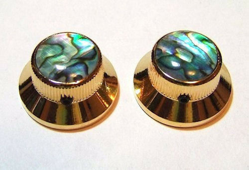 Guitar Parts METAL TOPHAT Skirt KNOBS 1//4inHole Set of 2 GOLD ABALONE TOP
