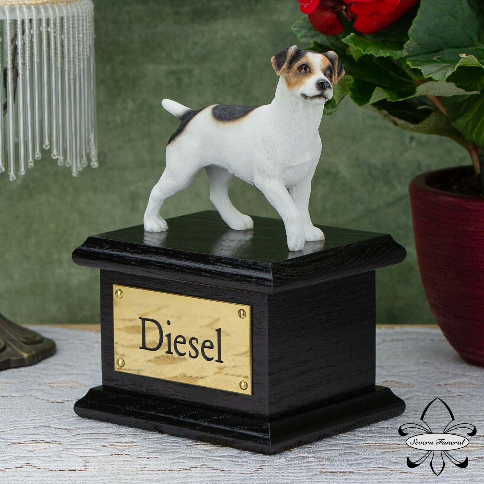 Cane in legno massello nero, Cremazione Urna Scrigno, Jack Russell