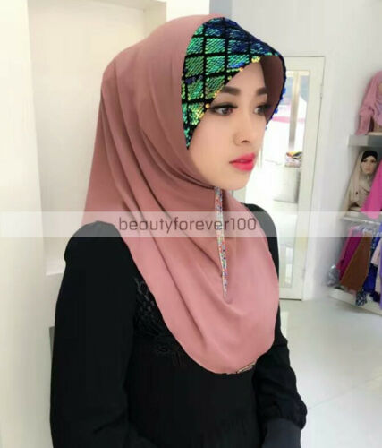 Muslim Sequin Cotton Hijab Caps Islamic Women Arab Headwear Hat Underscarf Shawl