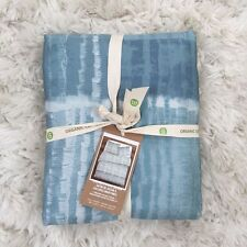 West Elm organic Seascape Stripe Sateen Queen duvet cover only Light Pool