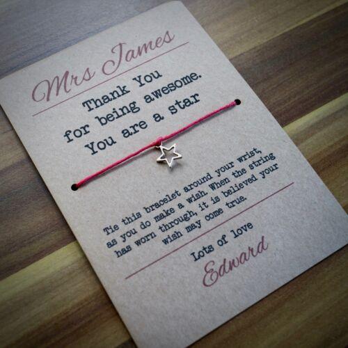 Teacher Gift Teacher Card Awesome Star Teacher Wish Bracelet Best Seller
