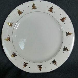 Tienshan-Golden-Pines-Dinner-Plate-10-1-2-034-Discontinued-White-Gold-Trees-Trim