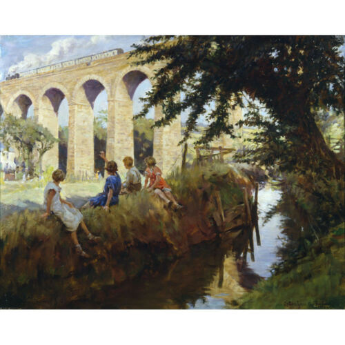 S A Forbes Medici Print Viaduct at Perranwell Falmouth