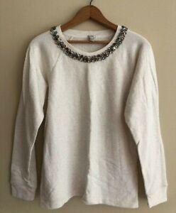 J-Crew-Necklace-Sweater-Cream-Size-M-Style-07726