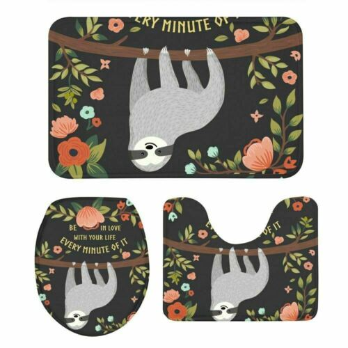 S//3 Lovely Cute Baby Sloth Lid Toilet Seat Cover Pedestal Rug Bath Mat Bathmat