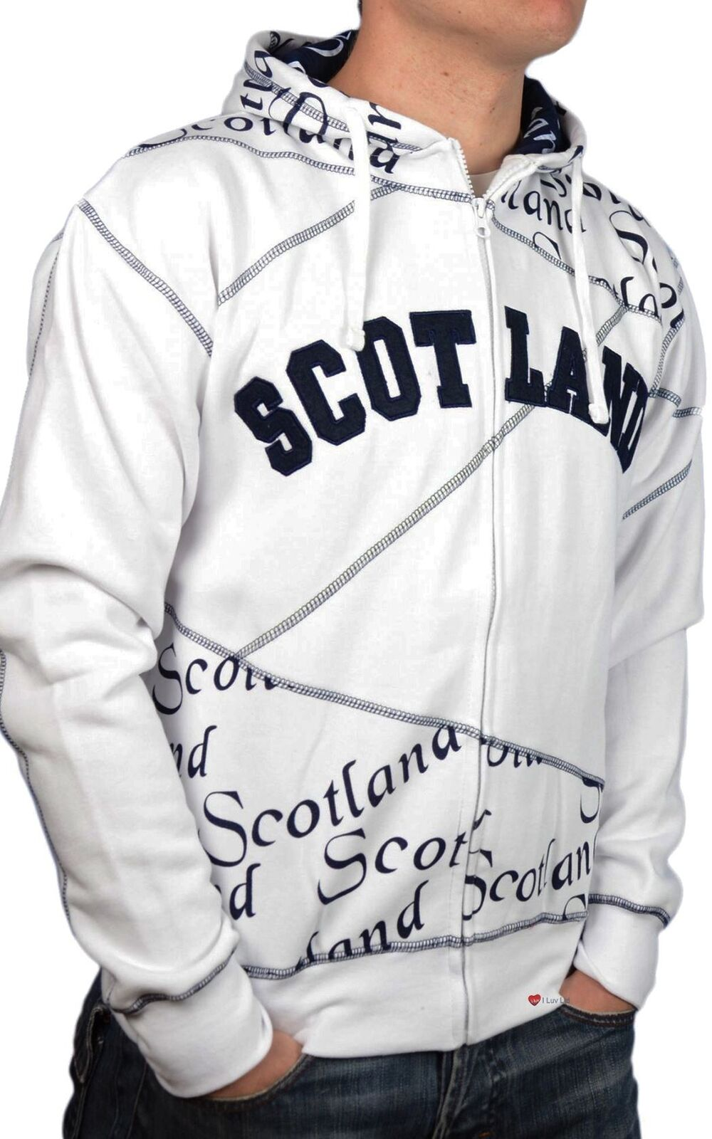 Zip Top Scotland Scroll Navy Lettering Fashion Hoodie White 2X-Large