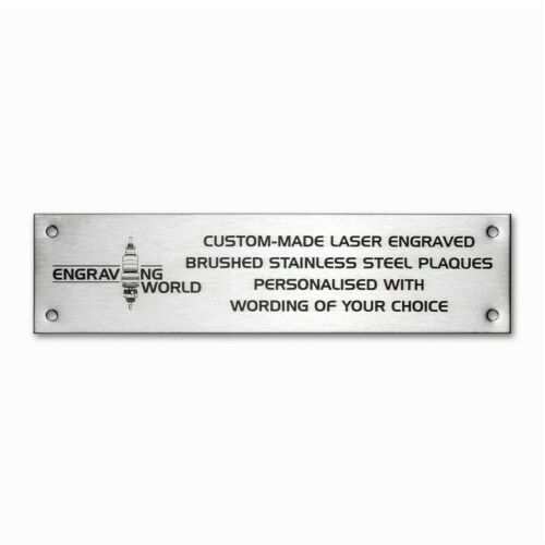 203mm x 63mm Brushed Stainless Steel Personalised Laser Engraving Plaque Sign