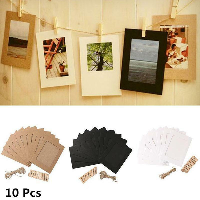 100Pcs DIY Paper Photo Wall Art Picture Hanging Album Frame With Hemp Rope Clips