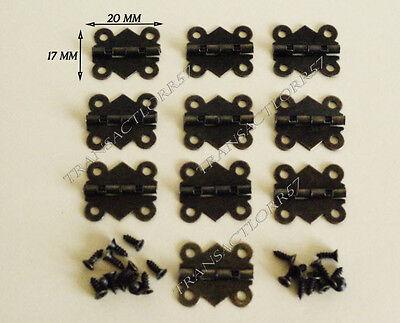 Pack de 12 mini-charni/ères de 18 mm pour bo/îte /à bijoux en bois en laiton antique avec vis en bronze