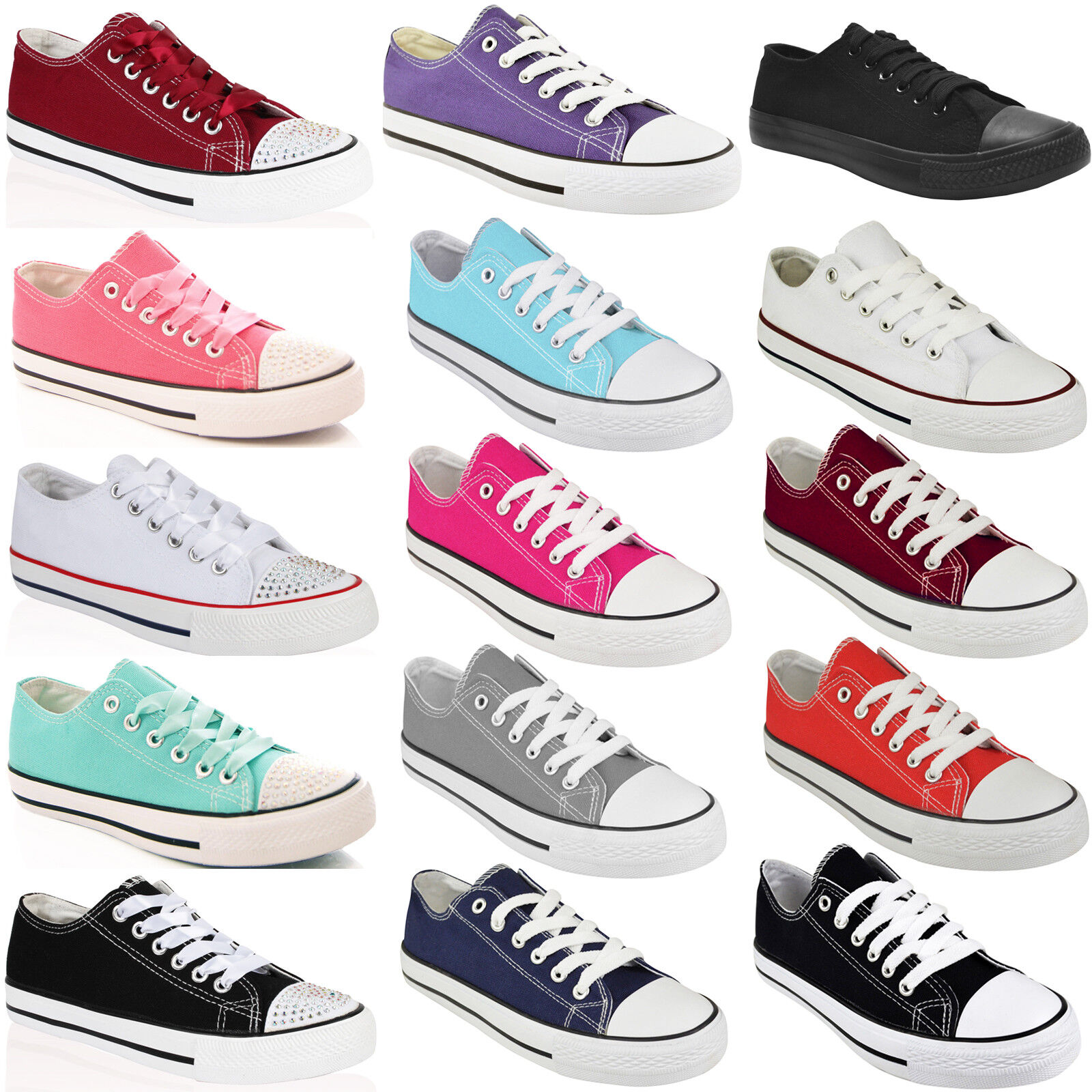 BRAND NEW LADIES WOMENS UP GIRLS CASUAL CANVAS LACE UP WOMENS PLIMSOLLS FLAT TRAINERS SIZE 9c7e48