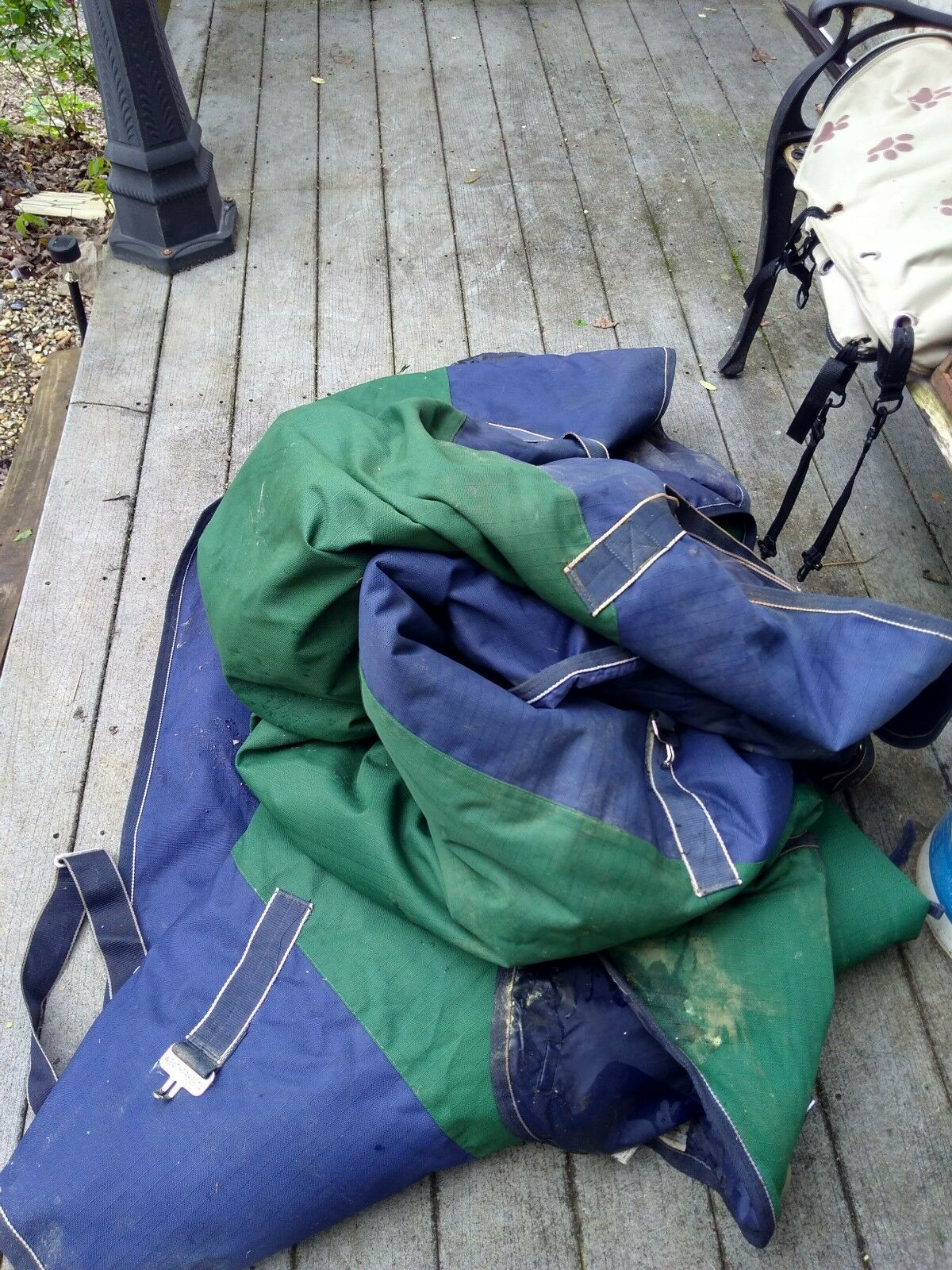 2 horse blankets, whetherbeeta heavy winter blankets , green and bluee 80.