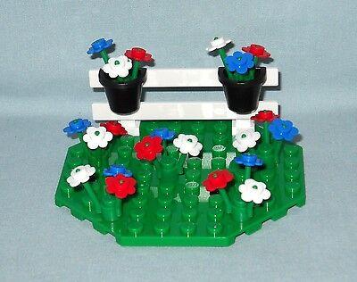 ****NEW LEGO CUSTOM FLOWER GARDEN WITH FENCE ON GREEN OCTAGON BASE****