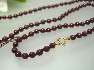 14k gold Vintage nature top quality 3.8-4 mm Garnet necklace 16-36 inches