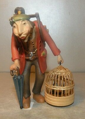 NEW Grocer with bird cage, Kastlunger 8 cm, wood figurines Lepi, Italy