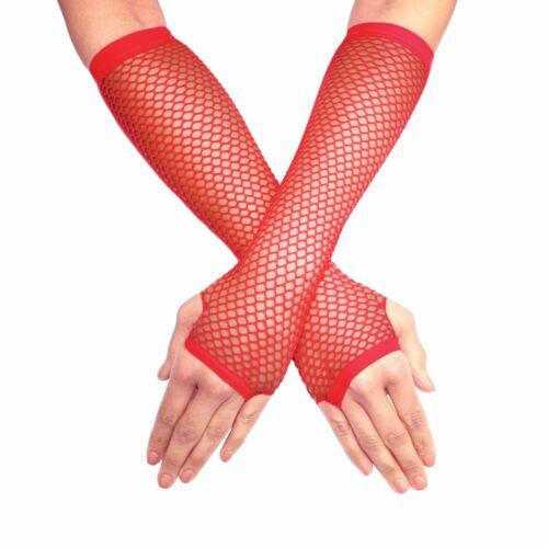 Long Coude Longueur Mitaines résille Cabaret Burlesque Gants fantaisie-rouge