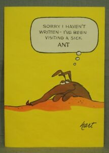Johnny-Hart-1960-039-s-VINTAGE-BC-comic-strip-greeting-card-visiting-a-sick-ant