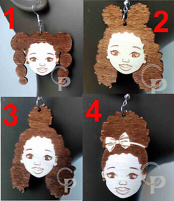 Enjoyable African Girl Sillhouette Afro Puff Natural Wooden Earrings Little Natural Hairstyles Runnerswayorg