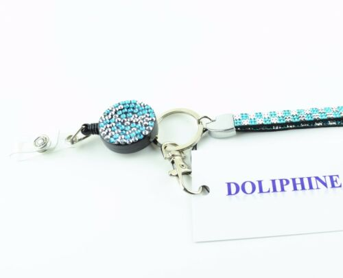 Bling Color Rhinestone neck lanyard and Retractable Reel with belt clip