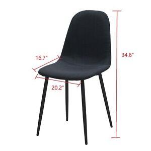 Details About Set Of 6 Dining Room Chair Elegant Design Black Fabric Upholstered