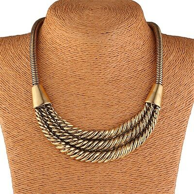 Chunky Twist Tribal Antique Gold Bib Statement Unisex Women's Men's Necklace