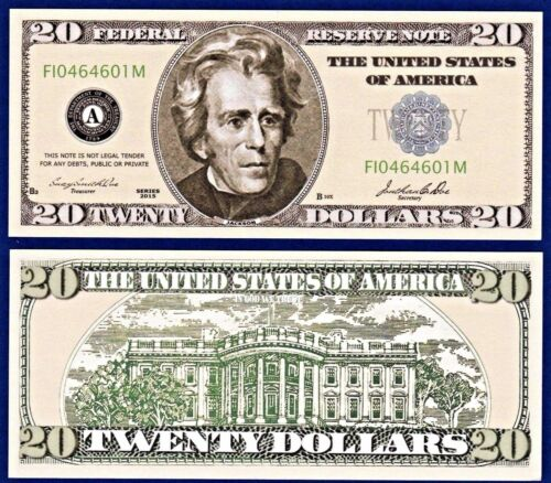 U1 10 USA $20.00 Casino Party Dollar Bills Poker-Play Fun Novelty Money
