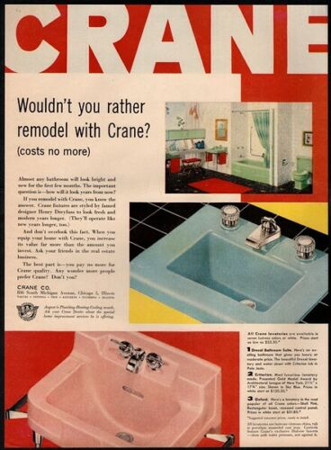 Retro VINTAGE AD 1956 CRANE Bathroom Fixtures Shell Pink /& Sky Blue Sinks
