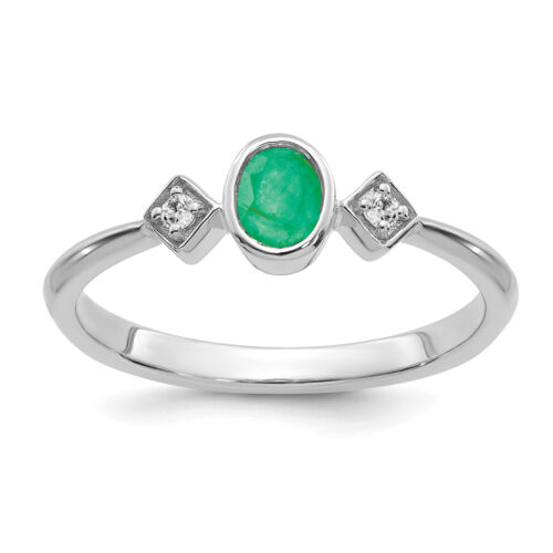 Details about  /Lex /& Lu 14k White Gold Emerald and Diamond Ring LAL4405
