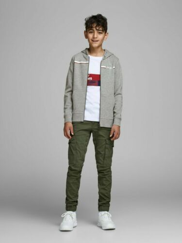 Jack /& Jones Boys Original Logo Printed Striped Hoodie Kids Casual Sweatshirts
