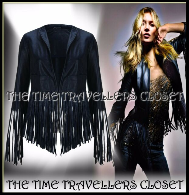 KATE MOSS TOPSHOP ICONIC MIDNIGHT BLUE CROP FRINGED LEATHER BIKER JACKET UK 8 10
