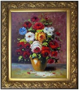 Framed, Still Life with Flowers and Fruit, Heavy Impasto Oil Painting 20x24in
