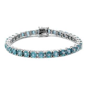 "Platinum Over 925 Sterling Silver Blue Zircon Tennis Bracelet Size 7.25"" Ct 28.3"