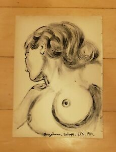 """DIEGO RIVERA first-wife ANGELINA BELOFF-AUTHENTIC HAND DRAWING12""""x8"""" INK PAPER"""