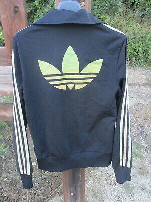 Veste ADIDAS TREFOIL noir or gold femme sport giacca tracktop jacket 38 | eBay