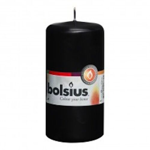 BOLSIUS BLACK PILLAR CANDLE 120x60mm 33HRS BURN TIME, PERFECT FOR WEDDING!