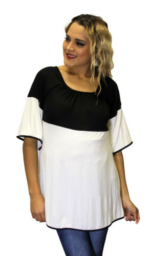 Black White Contrast Maternity Long Sleeve Top Solid Soft Confortable Two Tone