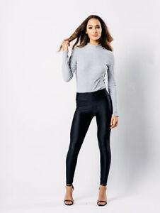 1fb6fa7f3bc Chargement de l image en cours Neuf-Femmes-Leggings-Disco-Brillant-Taille- Haute-Noir-