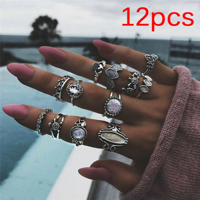 12PCS/Set Ring White Fire Opal Silver Ring Wedding Engagement Ring Women-Jewelry