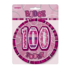 Pink-Glitz-100-Today-6-034-Giant-100th-Birthday-Badge-Party-Badges-Decorations