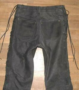 034-HARD-LEATHER-STUFF-034-Schnuer-LEDERJEANS-Lederhose-in-schwarz-in-W29-034-L32-034