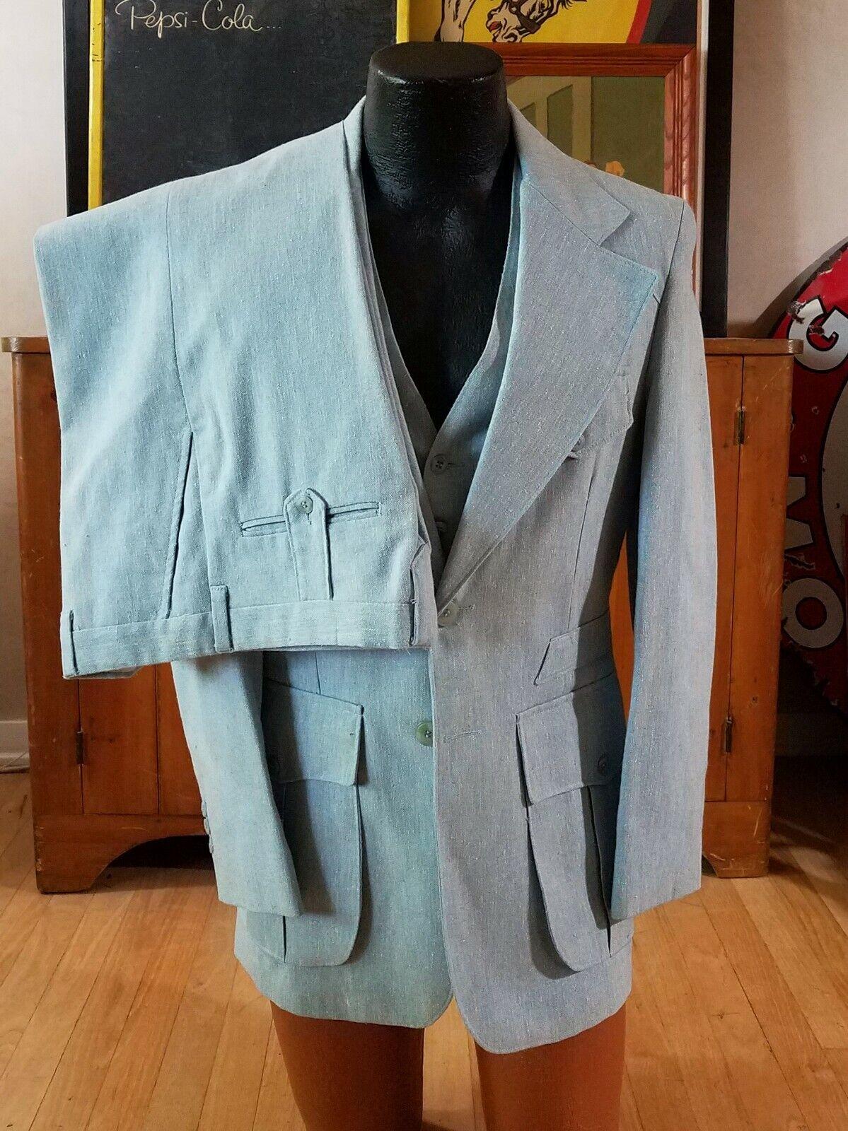 Vtg 1970s 3 Piece 30s Style Linen Suit. Mint.  - image 1