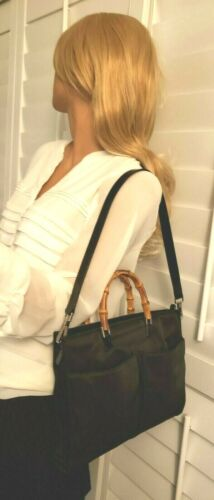 Auth Gucci black nylon bamboo Tote with shoulder H