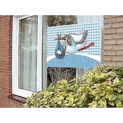 Storch Fensterfahne Geburtsanzeige Geburt Deko Baby Geburtsdekoration Jungen