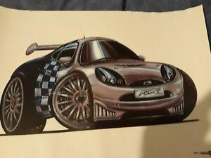 ford puma wrc rally cartoon car poster kids collectors man cave ... f7256657ae