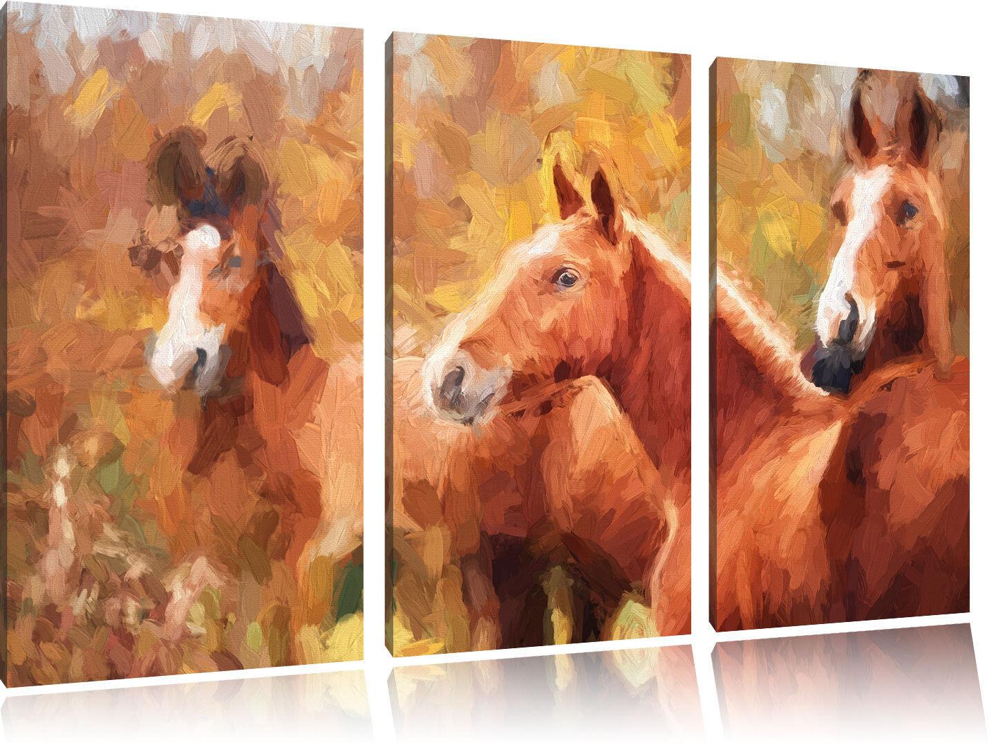 Schöne Pferde auf der Wiese Kunst Pinsel Effekt 3-Teiler Leinwandbild Wanddeko K