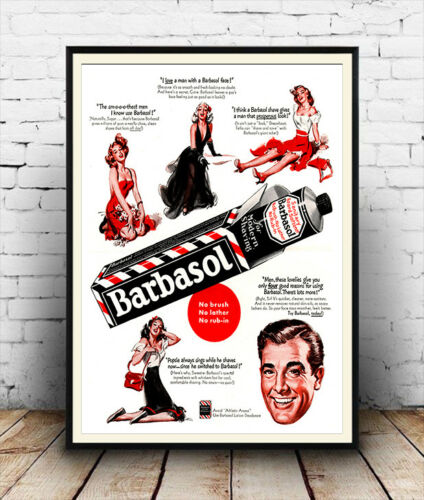 Barbasol Vintage Mens Grooming product Advertising Poster reproduction.