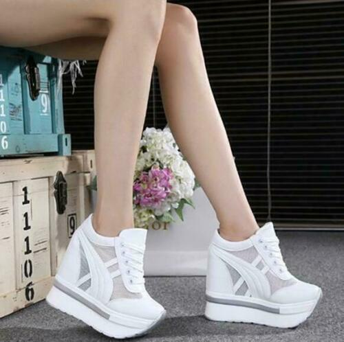Ladies Hidden Wedge Heel Sneakers Lace Up Mesh Platform Breathable Muffin Shoes