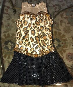 A-Wish-Come-True-Girls-Medium-Child-Jazz-Dance-Costume-Pageant-Animal-Print-Gold