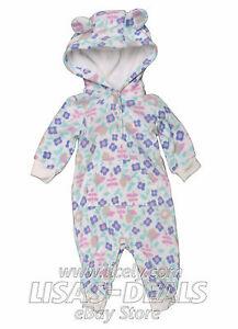 New Newborn Baby Infant Girls Carter's Fleece Romper Hooded Jumpsuit Bodysuit 3M