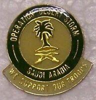 Hat Lapel Tie Pin Desert Storm Saudi Arabia We Support Our Troops