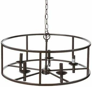 Kenroy Home Rustic 5 Light Chandelier 11.5 Inch Height 24 Inch Width with Bla...